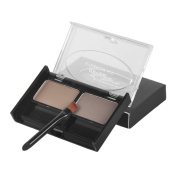 Dual Colours Waterproof NO Blooming Eyebrow Powder Palette with Brush, #3