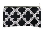 Cosmetic Travel Bag Pouch and Pen/Pencil Holder For School - Black/Grey- 27cm x 14cm