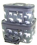 Elephant Print 2 Piece Train Case Cosmetic Set Travel Toiletry Luggage