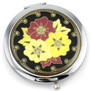 Floral Crest Gel Inlay - Dual Sided Steel Compact Mirror - Regular & Magnify