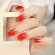 24PCS/Set Oval False Nails Fake Nail Tips French Manicure Pretty Nail Designs Full Cover Tips Red Gradient to Clear