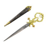 25cm Vintage Style Mediaeval Renaissance Scissors with Sheath
