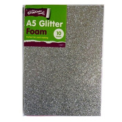 A5 Glitter Foam Creative Coloured Sheets - Pack of 10 - 5 Assorted Colours - by Crafty Creations
