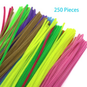 Trasfit 250 Pieces Pipe Cleaners Chenille Stem for Arts and Crafts 6 mm x 12 Inch, 10 Colours