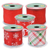 Christmas House Assorted Red & White Wire-Edged Polyester Ribbon 5 - 6.4cm x 270cm . spools