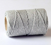 Quality Cotton Grey & Silver Baker's Twine 100m by James Lever 'Everlasto'