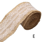 1 Pcs Natural Burlap Craft Ribbon Roll with White Lace,200cm 5 cm By Crqes