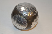 DSD 13cm Decorative Wood Sphere w/ Silver Metal Mum Accent Orb Ball