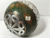 DSD 13cm Decorative Painted Sphere w/ Silver Metal Floral Accent Orb Ball