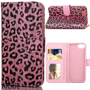 iPhone 7 Plus Wallet Case,ARSUE New Premium [Card Slot] PU Leather Wallet Cases Slim Folio Book Design Cover with [Kickstand Feature] Magnetic Closure Flip Protective Cover Case for Apple iPhone 7 Plus - Pink Leopard