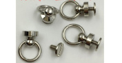 """Inton 50 Sets - Plated Brass Head Button O-ring 3/8"""" 10mm Stud Screwback with Screw (Nickle)"""
