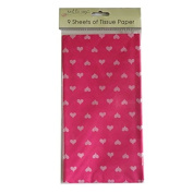 Printed Tissue Paper - Red Hearts - 9 Sheets - Size 8.1m x 6m