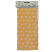 Printed Tissue Paper - Orange Hearts - 9 Sheets - Size 8.1m x 6m