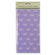 Printed Tissue Paper - Lilac Butterflies - 9 Sheets - Size 8.1m x 6m