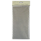 Printed Tissue Paper - Silver Polka Dot - 9 Sheets - Size 8.1m x 6m