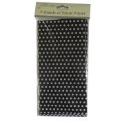 Printed Tissue Paper - Black Polka Dot - 9 Sheets - Size 8.1m x 6m