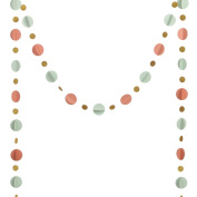 Ling's moment 3D Paper Circle Garland ( 5.1cm & 2.5cm Dots, 3m Long ), Circle Hanging Decorations for Wedding, Baby Shower, Festival Items & Party Props - Mint+Coral+Gold Glitter