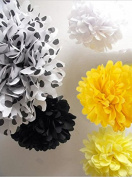 SUNBEAUTY 5pcs 8inch(20cm) Coloured Polka Dot Paper Pom Poms Flowers Ball Party Birthday Home Hanging Decoration
