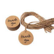 Thank you 4cm Round Wedding Party Favour Kraft Paper Tag Brown Gift Tag Name Card Hang Tag With Jute Twine