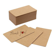 Fecedy 100pcs Blank Kraft paper Card Word Card Message Card DIY Gift Card