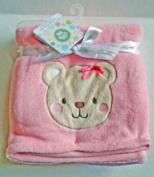 PinkPlush Blanket With Bear Applique'