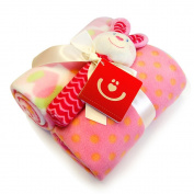 BlueberryShop 2x Fleece Blanket + Soft Squeaky Toy Gift Set Newborn Baby Shower Present ( 0-3 Yrs ) ( 90 x 75 cm ) Pink Rabbit