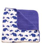 Little Unicorn Cotton Muslin Blanket Quilt- Indie Elephant, Indigo, Navy
