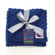 Minky Reverse Baby Blanket, Royal Blue/Royal Blue