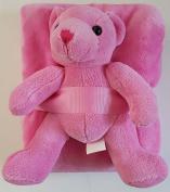 Heritage Club Blanket & Bear Combo, Plush Pink Teddy Bear & Blanket, 80cm x 100cm Blanket & 30cm Bear