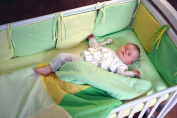 Handmade Baby Bedding Set Cotton Yellow Green Crib Bumpers Handcrafted