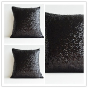 ShinyBeauty 50cm X 50cm -Throw Pillow Covers-Black,Sequin Pillow Case,Mettalic Pillow Case
