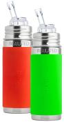 Pura Kiki Stainless Steel Vacuum Insulated Straw Bottle, 270ml, Set of 2, Green and Orange