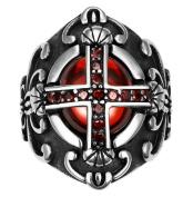 Men's Classic Vintage Luxury Crusader Templar Cross Christian Christianity Ruby CZ Zircon Crystal
