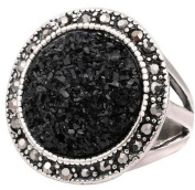 Black Broken Stone Accessories Rings For Women Bohemia Antique Silver Plated Jewellery