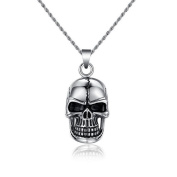 Unisex hiphop stainless steel necklaces for women skeleton head pendants for men