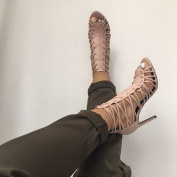 2016 Gladiator Sandals High Heels Cross Strap Stilettos Open Toe Ankle High Summer Boots Back Zipper