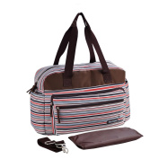 Multifunctional Fashion Stripes Mummy Bag Large Capacity Baby Nappy Bag with Changing Mat