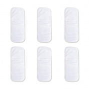Reusable 6pcs All-in-one Cloth Nappy Cover Inserts 3 Layers Absorbent Microfiber Lines