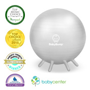 Baby Bump Birth Ball w Base Legs - Yoga - Anti-burst - Pump - Exercise during Pregnancy - Prenatal Fitness - Induces Labour - Soothes Babies - Doulas Moms - 65 cm - Soft Silver