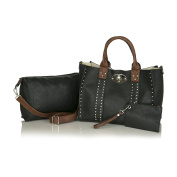 Classy Faux Leather Structured Satchel, Right And Left Hand Concealed Carry Tote