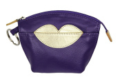 Leather Purple Coin Purse with Gold Lips