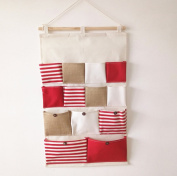 AddfunWall Pouch,Cotton Fabric Wall Door Closet Hanging Storage Bag with 13 Pockets,Red