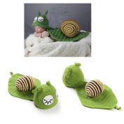 Green Snail Photography Prop Baby knitted Suit Crochet Costume Newborn Outfits