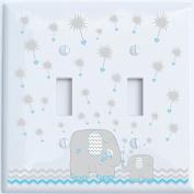 Grey and Blue Double Toggle Dandelion Elephant Light Switch Plates Covers / Elephant Nursery Decor