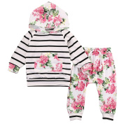 Newborn Baby Girls Floral Hooded Top + Pants Outfits Set Kids Clothes