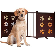 Freestanding Wooden Pet Gate with Swivel Feet Fully Foldable Home Animal Indoor Supplies