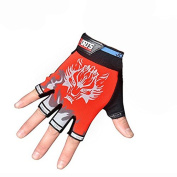 Luoke Wolf Cool Children Antiskid Breathable Elastic Magic Tape Cycling Riding Half Gloves