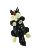 Linpeng Lampwork Glass Novelty Bead, 49 x 27 x 15mm, Black Cat with White Cheeks