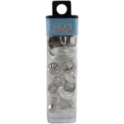Mode International Square Tube Glass Beads, 60ml, Crystal White Mix