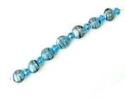 Linpeng SUP-1301 Swirl Lampwork and Crystal Beads Strand, 19cm , Blue